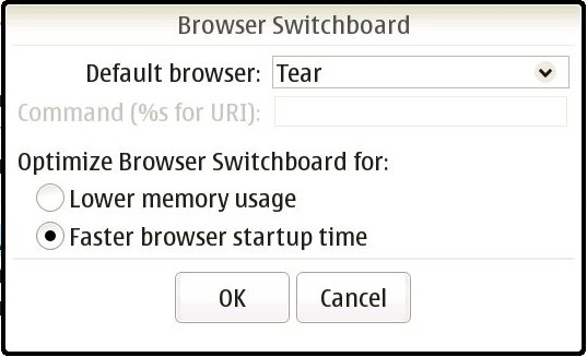 Browser Switchboard control panel UI